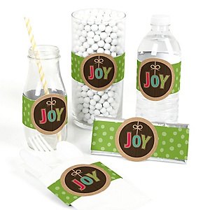 Rustic Joy - DIY Holiday & Christmas Party Wrapper - 15 ct