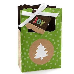 Rustic Joy - Holiday & Christmas Party Gift Bags for Women - Holiday Party Gift Favor Boxes - Set of 12