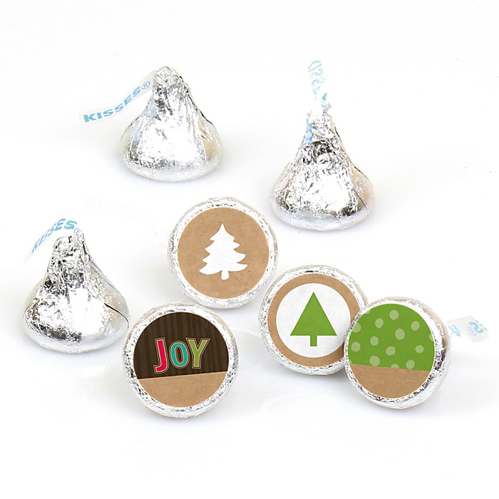 Rustic Joy - Round Candy Labels Holiday & Christmas Party Favors - Fits Hershey Kisses - 108 ct