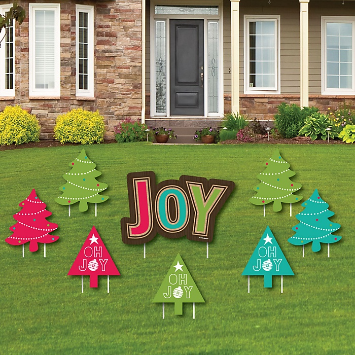 Rustic Joy - Yard Sign & Outdoor Lawn Decorations - Holiday & Christmas Party Yard Signs - Set of 8