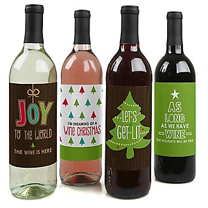 Rustic Joy - Holiday & Christmas Party Decorations for Women and Men - Wine Bottle Label Stickers - Set of 4