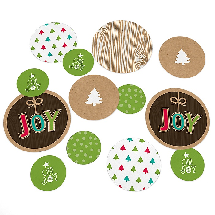 Rustic Joy - Holiday & Christmas Party Giant Circle Confetti - Winter Party Decorations - Large Confetti 27 Count