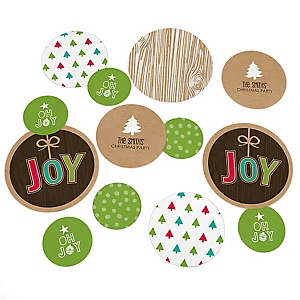 Rustic Joy - Personalized Holiday & Christmas Party Giant Circle Confetti - Winter Party Decorations - Large Confetti 27 Count