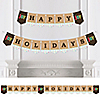 Rustic Joy - Personalized Holiday & Christmas Party Bunting Banner & Decorations