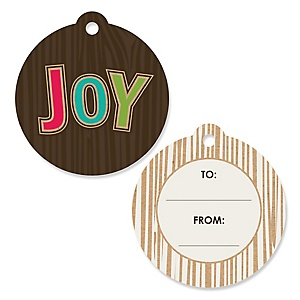 Rustic Joy - Holiday & Christmas Party To and From Favor Gift Tags - Set of 20