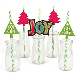 Rustic Joy - Paper Straw Decor - Holiday & Christmas Party Striped Decorative Straws - Set of 24