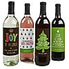 Rustic Joy - Holiday & Christmas Party Wine Bottle Label Stickers - Set of 4