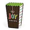 Rustic Joy - Personalized Holiday & Christmas Party Popcorn Favor Treat Boxes - Set of 12