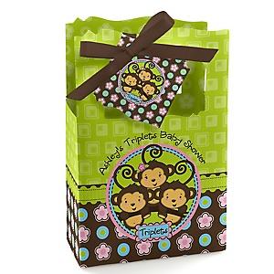 Triplet Monkeys 2 Boys & 1 Girl - Personalized Baby Shower Favor Boxes