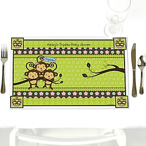 Triplet Monkeys 2 Boys & 1 Girl - Personalized Baby Shower Placemats