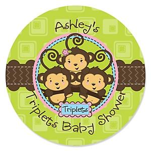 Triplet Monkeys 2 Boys & 1 Girl - Personalized Baby Shower Sticker Labels - 24 ct
