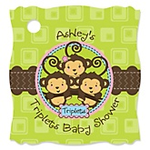 Triplet Monkeys 2 Boys & 1 Girl - Personalized Baby Shower Tags - 20 Count