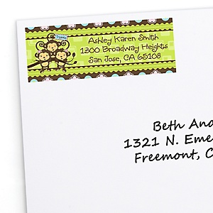 Triplet Monkeys 2 Girls & 1 Boy - Personalized Baby Shower Return Address Labels - 30 Count