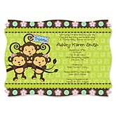 Triplet Monkeys 2 Girls & 1 Boy - Personalized Baby Shower Invitations
