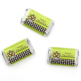 Triplet Monkeys 2 Girls & 1 Boy - Personalized Baby Shower Mini Candy Bar Wrapper Favors - 20 ct