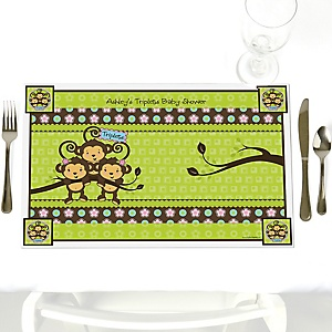 Triplet Monkeys 2 Girls & 1 Boy - Personalized Baby Shower Placemats