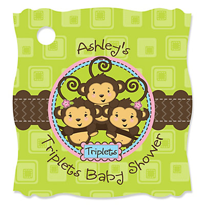 Triplet monkeys 2 girls 1 boy personalized baby shower tags triplet monkeys 2 girls 1 boy personalized baby shower tags 20 ct bigdotofhappiness negle Image collections