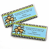 Blue Triplet Monkey Boys - Personalized Baby Shower Candy Bar Wrapper Favors