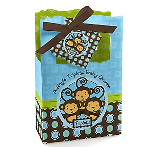 Blue Triplet Monkey Boys - Personalized Baby Shower Favor Boxes