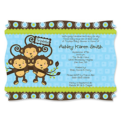 Blue triplet monkey boys personalized baby shower invitations blue triplet monkey boys personalized baby shower invitations filmwisefo