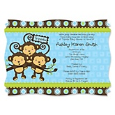 Blue Triplet Monkey Boys - Personalized Baby Shower Invitations