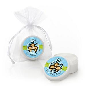 Blue Triplet Monkey Boys - Personalized Baby Shower Lip Balm Favors