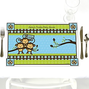 Blue Triplet Monkey Boys - Personalized Baby Shower Placemats