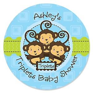 Blue Triplet Monkey Boys - Personalized Baby Shower Sticker Labels - 24 ct