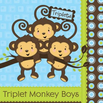Triplet Monkey Boys   Baby Shower Theme