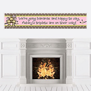 Pink Triplet Monkey Girls - Personalized Baby Shower Banners