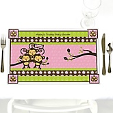Pink Triplet Monkey Girls - Personalized Baby Shower Placemats