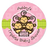 Pink Triplet Monkey Girls - Personalized Baby Shower Sticker Labels - 24 ct
