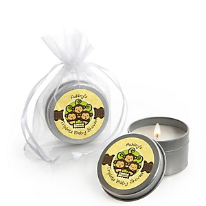 Triplet Monkeys Neutral - Candle Tin Personalized Baby Shower Favors