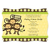 Triplet Monkeys Neutral - Personalized Baby Shower Invitations