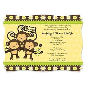 Triplet Monkeys Neutral - Personalized Baby Shower Invitations