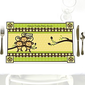 Triplet Monkeys Neutral - Personalized Baby Shower Placemats