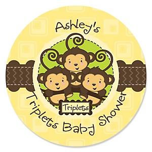 Triplet Monkeys Neutral - Personalized Baby Shower Sticker Labels - 24 ct