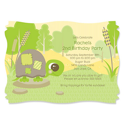 Turtle Personalized Birthday Party Invitations – Turtle Birthday Invitations