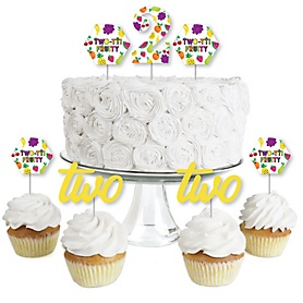 2nd Birthday TWO-tti Fruity - Dessert Cupcake Toppers - Frutti Summer Second Birthday Party Clear Treat Picks - Set of 24