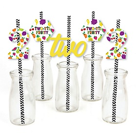 2nd Birthday TWO-tti Fruity - Paper Straw Decor - Frutti Summer Second Birthday Party Striped Decorative Straws - Set of 24