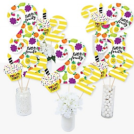 2nd Birthday TWO-tti Fruity - Frutti Summer Second Birthday Party Centerpiece Sticks - Table Toppers - Set of 15