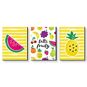 Tutti Fruity - Nursery Wall Art, Kids Room & Decor Frutti Summer Home Decorations - 7.5 x 10 inches - Set of 3 Prints