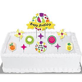 Tutti Fruity - Frutti Summer Birthday Party Cake Decorating Kit - Happy Birthday Cake Topper Set - 11 Pieces