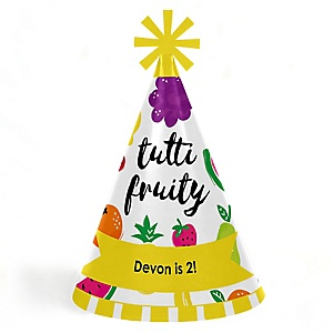 Tutti Fruity - Personalized Cone Frutti Summer Happy Birthday Party Hats for Kids and Adults - Set of 8 (Standard Size)