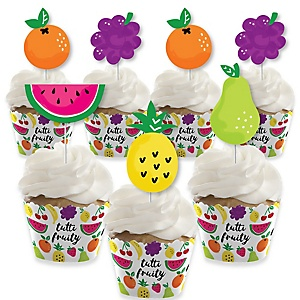 Tutti Fruity - Cupcake Decoration - Frutti Summer Baby Shower or Birthday Party Cupcake Wrappers and Treat Picks Kit - Set of 24