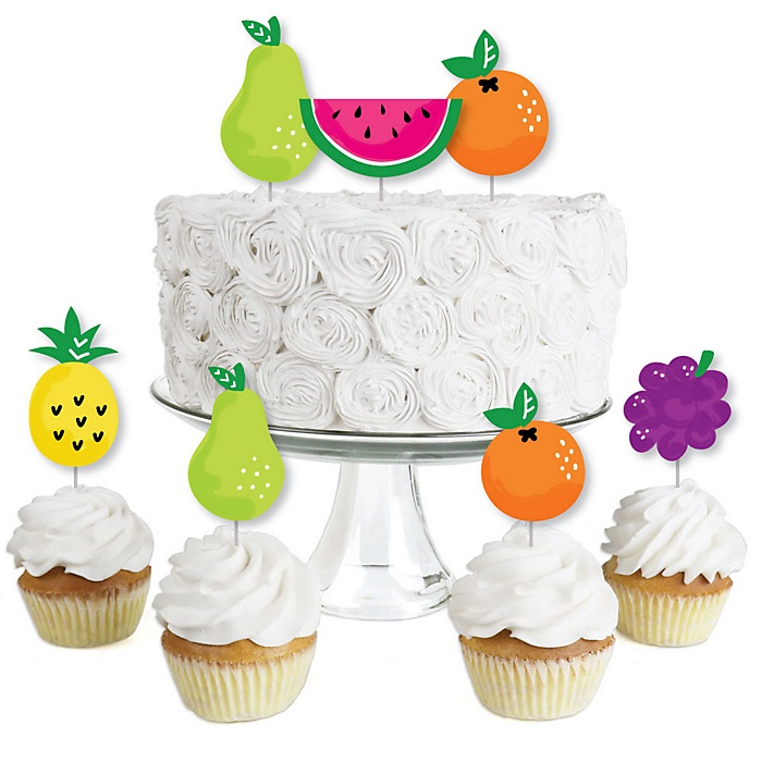 Tutti Fruity - Dessert Cupcake Toppers - Frutti Summer Baby Shower or Birthday Party Clear Treat Picks - Set of 24