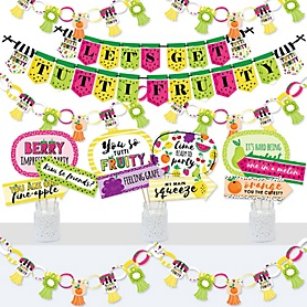 Tutti Fruity - Banner and Photo Booth Decorations - Frutti Summer Baby Shower or Birthday Party Supplies Kit - Doterrific Bundle