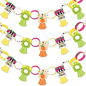 Tutti Fruity - 90 Chain Links and 30 Paper Tassels Decoration Kit - Frutti Summer Baby Shower or Birthday Party Paper Chains Garland - 21 feet