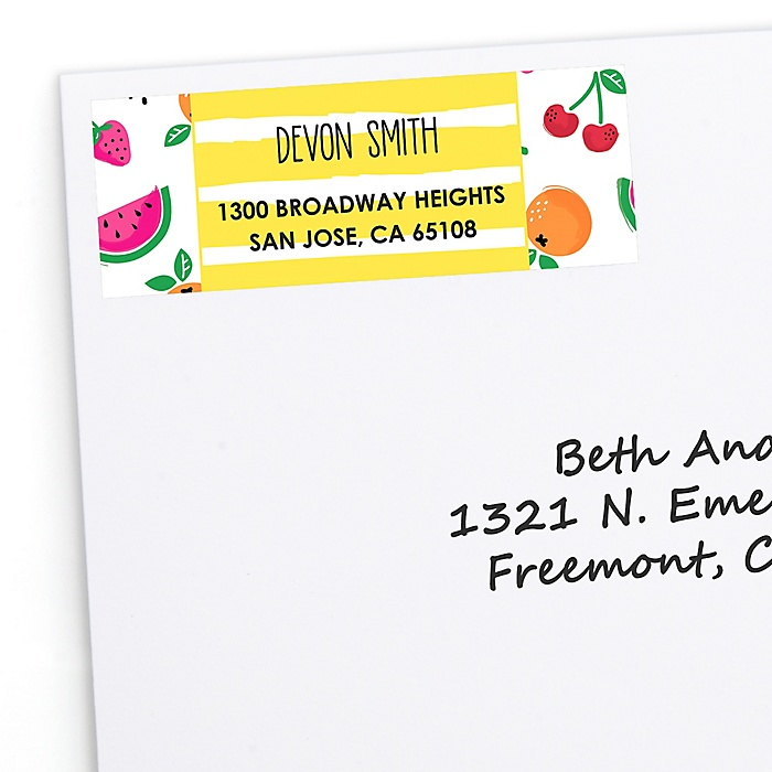Tutti Fruity - Personalized Frutti Summer Baby Shower or Birthday Party Return Address Labels - 30 ct