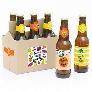 Tutti Fruity - Decorations for Women and Men - 6 Frutti Summer Beer Bottle Labels and 1 Carrier - Girl Baby Gift